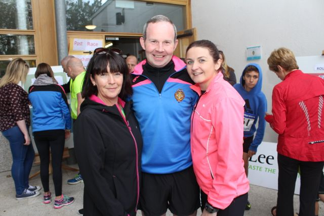 Liz Doyle, Mark Ryall and Eilish O'Leary at the CBS The Green Fun Run on Sunday afternoon. Photo by Dermot Crean