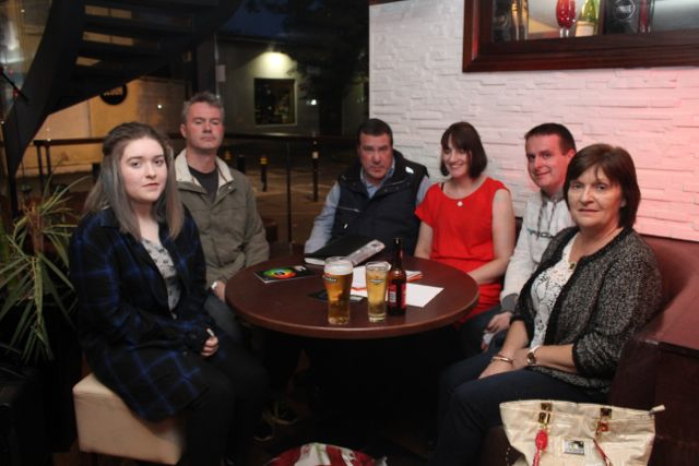 Ciara Dennehy, Gerard Baily, James Flynn, Evelyn Foley, Mark Flanagan, Sheila Dennehy at the Thursday Night Writers Group Culture Night event in The Abbey Inn. Photo by Dermot Crean
