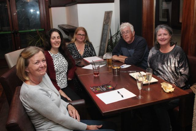 Anne Bentley, Rachel Pinckheard, Anna Dokurno, Gordon Pinckheard and Kathy Lawlor at the Thursday Night Writers Group Culture Night event in The Abbey Inn. Photo by Dermot Crean
