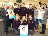 Launching the   Front from left; Students Abbie O'Sullivan, Melanie Smith and Rachel Dunne. At back; Manager of Penneys Tralee, John Carlin, teacher Myrna Egan, Ethan Byrne, Luke Stack, Paul McCarthy, Vive-Principal of Coláiste Gleann Lí, Maryanne Lowney and ISPCC National Anti-Bullying co-ordinator, Sinead McKee. Photo by Dermot Crean