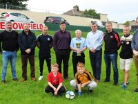 Launching the Interfirm Soccer Tournament were, from left: Simon McCarthy, Martin Dennehy, James Sugrue, Eamon Fitzmaurice, TC Counihan, Eoin Kelliher, Pa Daly, Anthony Moriarty and Carl Keohane. In front: Fionn Ó Dálaigh and Darragh Moriarty. Photo by Gavin O'Connor.