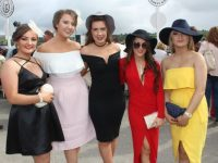 Aoife O'Carroll, Kilmoyley, Katelyn Doyle, Ballyduff, Aoife Mahony, Kilflynn, Kristin Curran and Marianne Nolan, Kilflynn, at the McElligott's Honda Ladies Day at Listowel Races on Friday. Photo by Dermot Crean