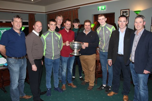 Alan O'Neill, Tim Kelliher, Ryan O'Neill, Timmy Sugrue, Philip Dewey, Niall O'Mahony, Denis Moriarty, Diarmuid O'Connor, Time Lynch and Kevin Murphy at the Na Gaeil GAA Clubhouse on Friday night. Photo by Dermot Crean
