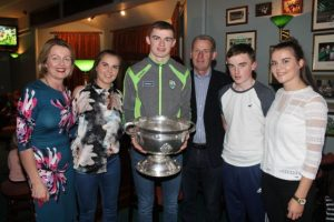 Diarmuid O'Connor with his family, mom Mary Ellen, Brid, dad Kevin, Enda and Eilish at the Na Gaeil GAA Clubhouse on Friday night. Photo by Dermot Crean