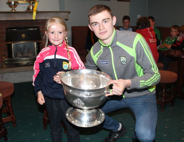 Ava Dewey with Diarmuid O'Connor at the Na Gaeil GAA Clubhouse on Friday night. Photo by Dermot Crean