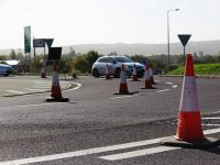 Cones on the Ballingarry Roundabout. Photo by Gavin O'Connor.