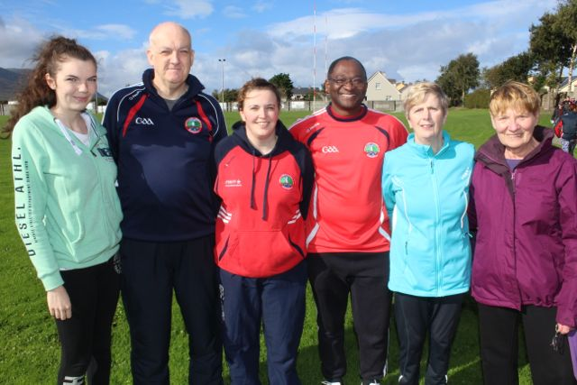 Aisling, Martin and Sharon Williams, Dipo Dairo, Marian Williams and Mary O'Donoghue  at the Tony O'Donoghue Memorial Walk at St Pat's GAA Club on Sunday. Photo by Dermot Crean