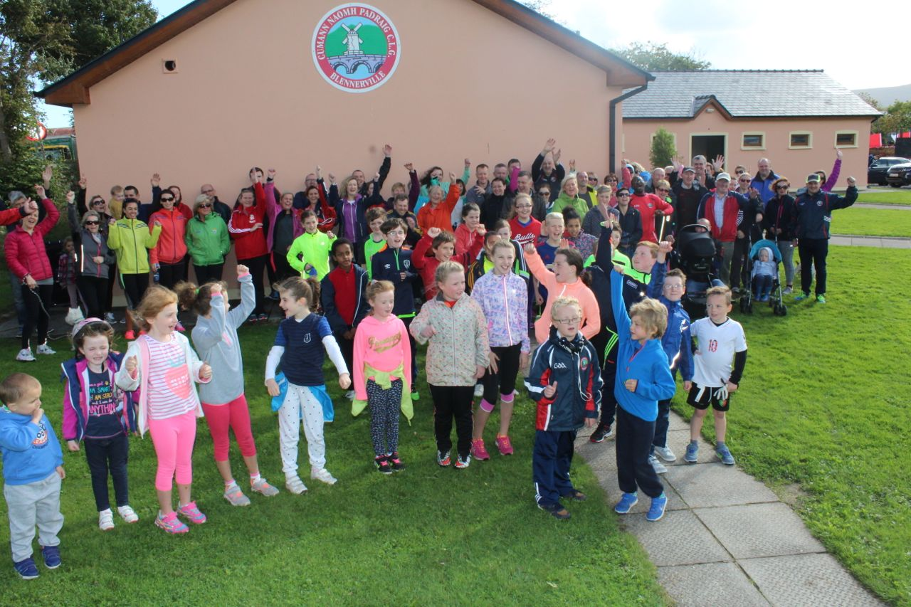 The crowd gathered for the Tony O'Donoghue Memorial Walk at St Pat's GAA Club on Sunday. Photo by Dermot Crean