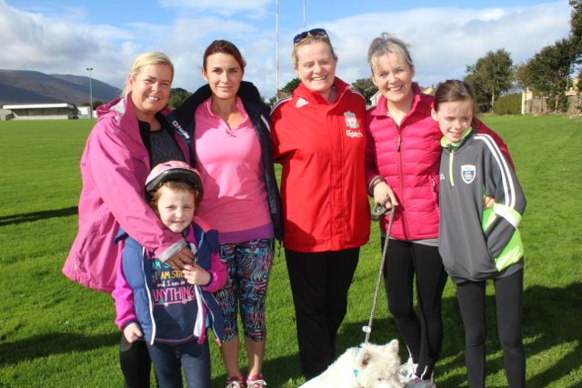 Karen Fenix, Sarah and Therese Greaney, Cathy Sheehan, Teresa and Millie O'Brien with Monty the dog at the Tony O'Donoghue Memorial Walk at St Pat's GAA Club on Sunday. Photo by Dermot Crean
