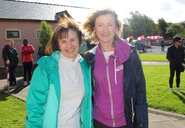 Mary Sheehy and Tracy Corkery at the Tony O'Donoghue Memorial Walk at St Pat's GAA Club on Sunday. Photo by Dermot Crean