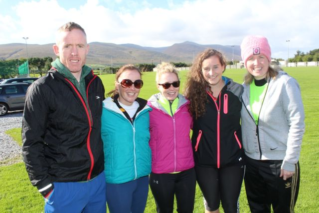 Aidan McCarthy, Breda and Karena Slattery, Gemma O'Connell and Andrea O'Donoghue at the Tony O'Donoghue Memorial Walk at St Pat's GAA Club on Sunday. Photo by Dermot Crean