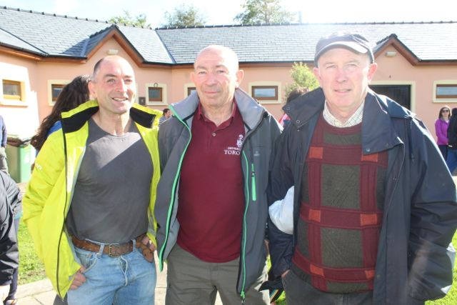Patrick Dillane, Billy Irwin and John Savage at the Tony O'Donoghue Memorial Walk at St Pat's GAA Club on Sunday. Photo by Dermot Crean