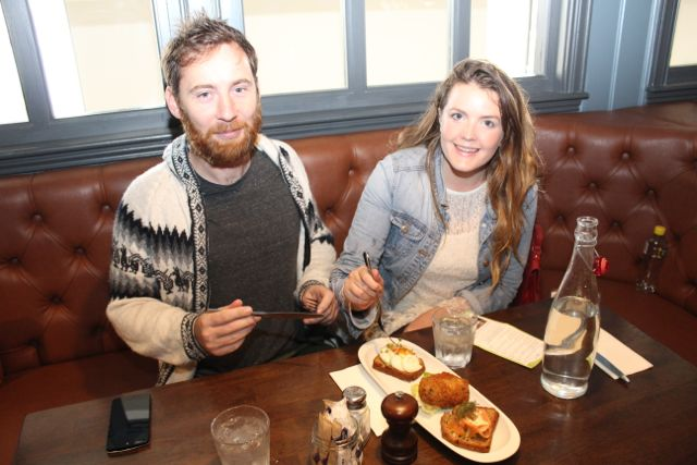 Mark Foley and Sinead Arthurs on the Taste Trail in The Ashe Hotel as part of the Tralee Food Festival on Saturday. Photo by Dermot Crean