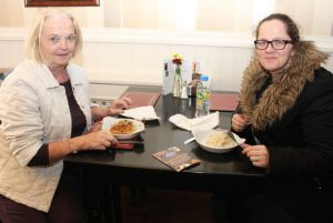 Noreen and Deirdre Power in Kirby's Brogue Inn tucking into mini-quiche and vol-au-vant on the Taste Trail as part of the Tralee Food Festival on Saturday. Photo by Dermot Crean