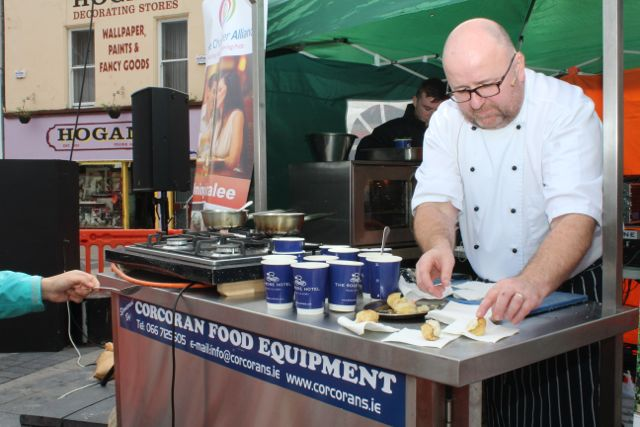 Chef Odran Lucey of The Rose Hotel in The Square giving a cookery demo as part of the Tralee Food Festival on Saturday. Photo by Dermot Crean