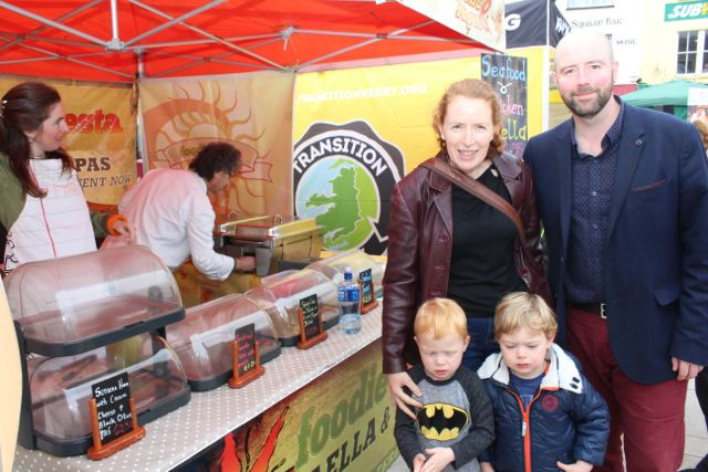 Fanchea, Donnacha, Luca and Elliott Toomey enjoying the Artisan Food Market at the Tralee Food Festival on Saturday. Photo by Dermot Crean