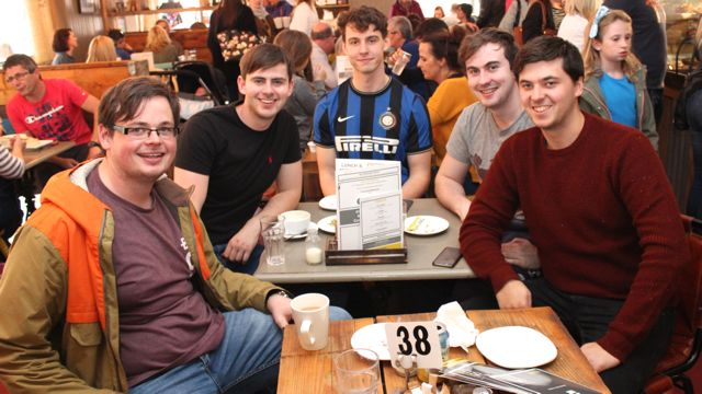 Daniel Carmody, Jack Cahillane, Ben Dennison, Eoghan Sullivan and Tim Farrell on the Taste Trail in Yummy Cafe as part of the Tralee Food Festival on Saturday. Photo by Dermot Crean