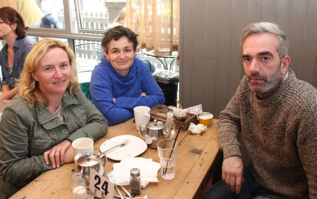 Deirdre Dennehy, Caroline Doyle and John Harty on the Taste Trail in Yummy Cafe as part of the Tralee Food Festival on Saturday. Photo by Dermot Crean