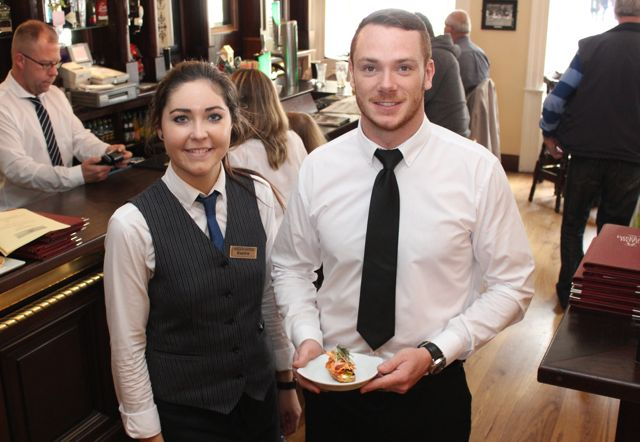 Sophie Wolff and Dylan Folye of the Imperial Hotel serving one of the dishes on the Taste Trail as part of the Tralee Food Festival on Saturday. Photo by Dermot Crean