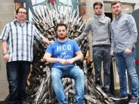 Sitting on the Iron Throne were, Naoise Colman Hoskins, Gerad Dennis O'Connor, Dylan Doocey and Steve Clifford. Photo by Gavin O'Connor.