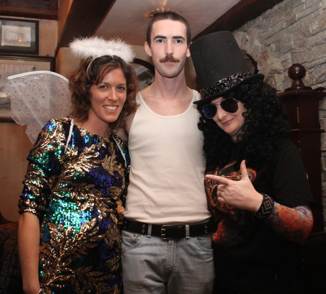 Lyndsey Crean, Paddy Brosnan and Sinead Crean at the Halloween Fancy Dress Rock Night on Saturday in the Abbey Inn. Photo by Dermot Crean