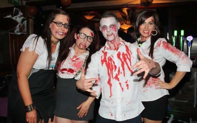 Trisha O'Connor, Chloe Lyons, David Dillane and Sarah O'Connor at the Halloween Fancy Dress Rock Night on Saturday in the Abbey Inn. Photo by Dermot Crean