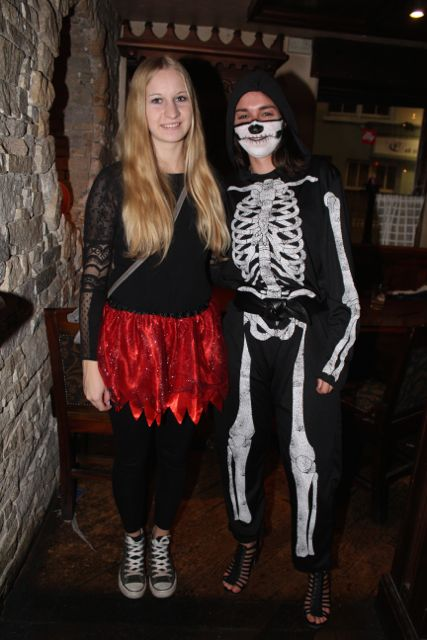 Selina Castari and Emilie Kunzinger at the Halloween Fancy Dress Rock Night on Saturday in the Abbey Inn. Photo by Dermot Crean