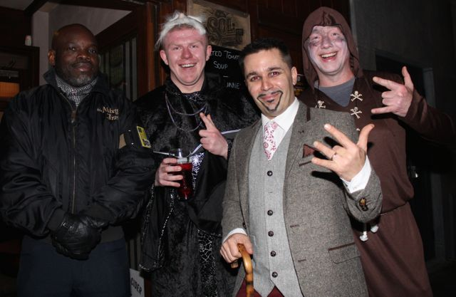 Obiora Madichie, Dylan Knightly, Terence Crean and Manus Leane at the Halloween Fancy Dress Rock Night on Saturday in the Abbey Inn. Photo by Dermot Crean