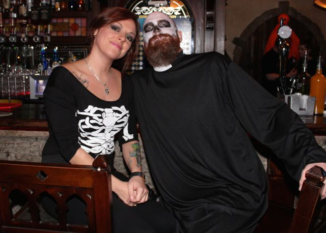 A couple enjoying the Halloween Fancy Dress Rock Night on Saturday in the Abbey Inn. Photo by Dermot Crean