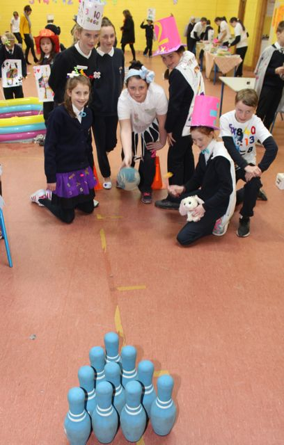 Caherleaheen sixth class pupils taking part in games for Maths Week. Photo by Dermot Crean