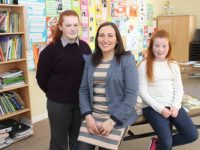 Teacher Carol O'Brien with Ellie and Carla Foley at the Colaiste Gleann Lí Open Day on Saturday. Photo by Dermot Crean