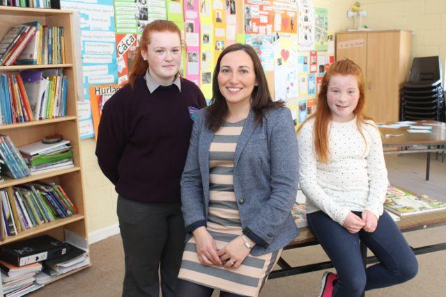 Teacher Carol O'Brien with Ellie and Carla Foley at the Colaiste Gleann Lí Open Day on Saturday. Photo by Dermot Crean