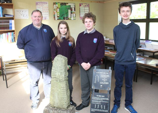 History teacher Mervin Clifford with Snjezena Herbsts, Dylan Duffy and Matthew Johnston at the Colaiste Gleann Lí Open Day on Saturday. Photo by Dermot Crean