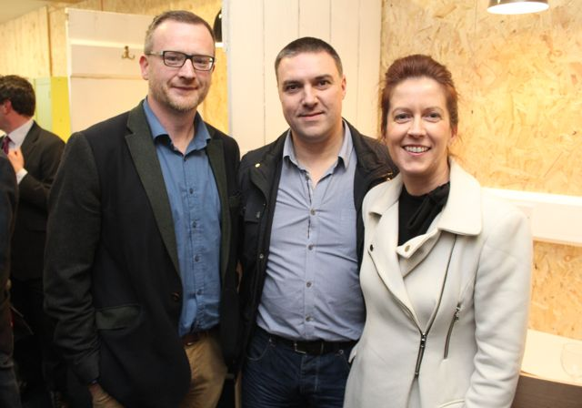 Ken Tobin of HQ Tralee with Nathan and Aine Tadier of Kerins Launderette at the official opening of HQ Tralee on Friday afternoon. Photo by Dermot Crean