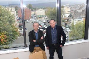 Ken Tobin and Tom O'Leary in the boardroom of HQ Tralee. Photo by Dermot Crean