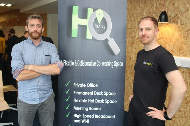 Diarmaid Murphy and Padraig O Dalaigh of PACWEB TV at the official opening of HQ Tralee on Friday afternoon. Photo by Dermot Crean