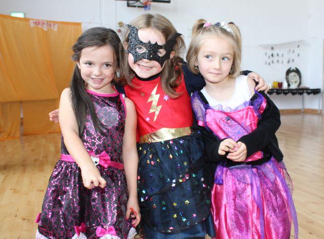 Polly Jones, Olivia Crean and Naomi Wrzodak enjoying Halloween fun at St Brendan's NS Blennerville on Friday. Photo by Dermot Crean