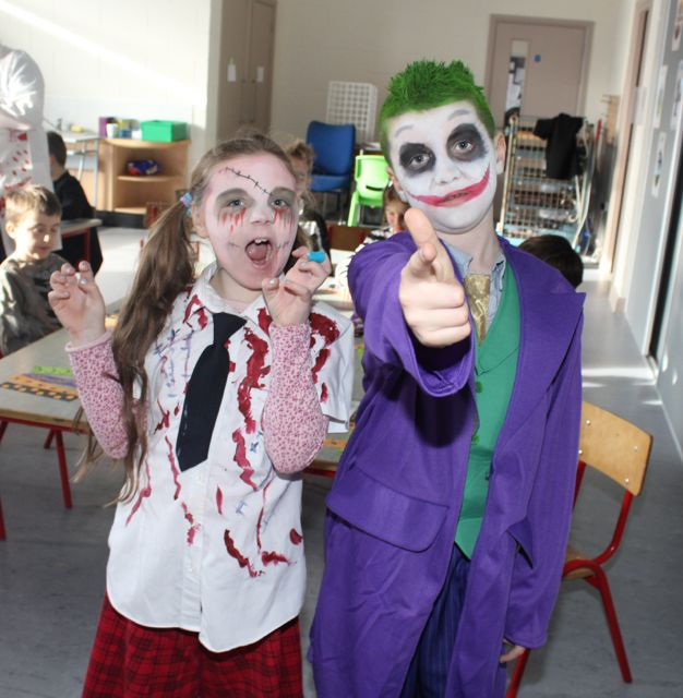 Amy Lee and Christian O'Sullivan Dunne enjoying Halloween fun at St Brendan's NS Blennerville on Friday. Photo by Dermot Crean