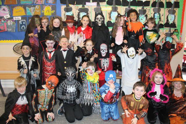 First class pupils enjoying Halloween fun at St Brendan's NS Blennerville on Friday. Photo by Dermot Crean
