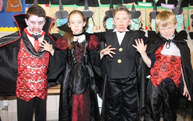 Sam Keane, Elizabeth Sullivan, Rowan Culloo and Jack Maguire enjoying Halloween fun at St Brendan's NS Blennerville on Friday. Photo by Dermot Crean