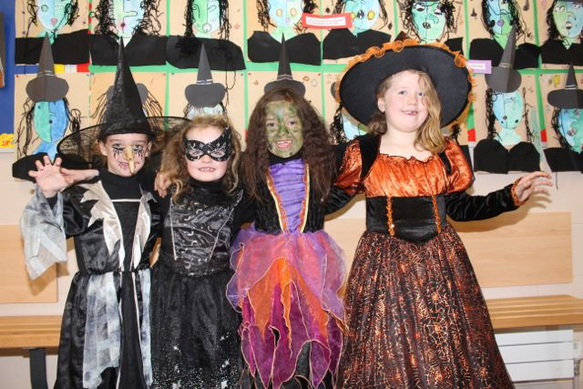 Kerrie Falvey, Cara Kelliher, Lily Breen and Amy Turner enjoying Halloween fun at St Brendan's NS Blennerville on Friday. Photo by Dermot Crean