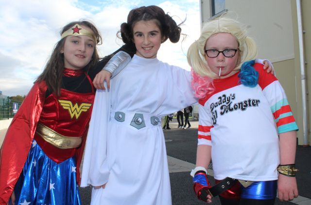 Lily O'Sullivan, Kelly Fitzgerald and Faye O'Connor enjoying Halloween fun at St Brendan's NS Blennerville on Friday. Photo by Dermot Crean