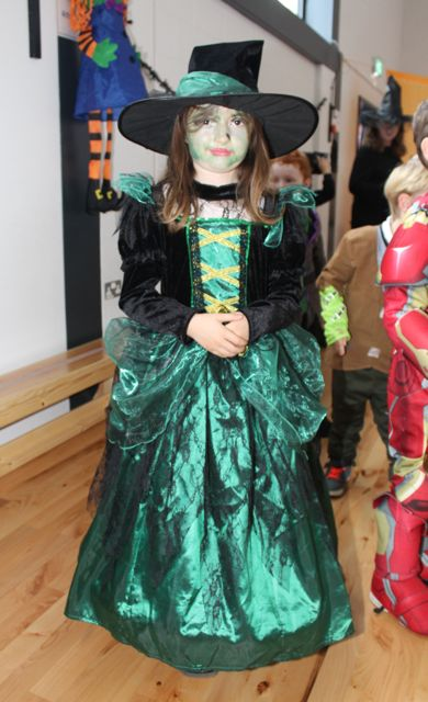 Lily Mai Mullins enjoying Halloween fun at St Brendan's NS Blennerville on Friday. Photo by Dermot Crean