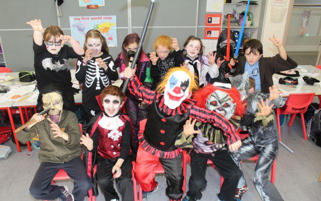 Third class pupils enjoying Halloween fun at St Brendan's NS Blennerville on Friday. Photo by Dermot Crean