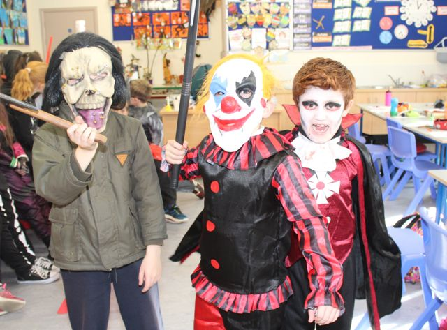 Bryan Kavanagh, Brandon O'Connor and Sean O'Mahony enjoying Halloween fun at St Brendan's NS Blennerville on Friday. Photo by Dermot Crean