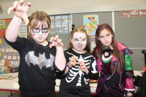 Ella Gethin, Katelyn O'Grady and Grainne O'Donnell enjoying Halloween fun at St Brendan's NS Blennerville on Friday. Photo by Dermot Crean