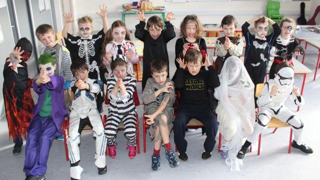 Second class pupils enjoying Halloween fun at St Brendan's NS Blennerville on Friday. Photo by Dermot Crean