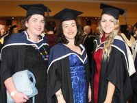 Maria McCarthy, Carla Ludgate and Kayleigh Donegan (Creative Media) at the IT Tralee conferring ceremony at the Brandon Hotel Conference Centre on Friday morning. Photo by Dermot Crean
