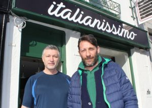 Cousins Angelo Nicosia and Giuseppe Andolina outside their new Italian deli on Ashe Street. Photo by Dermot Crean