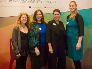 Geraldine Woessner, Karen Mahony, Rebecca Atkinson, Susan Browne at the KBN Launch Pad event in the Rose Hotel last Wednesday. Photo by Tara O'Donoghue
